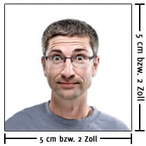 Größe eines biometrischen Visum-Fotos
